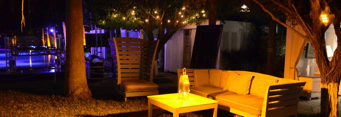 Custom outdoor lighting design displayed here from private milestone celebration event in NYC