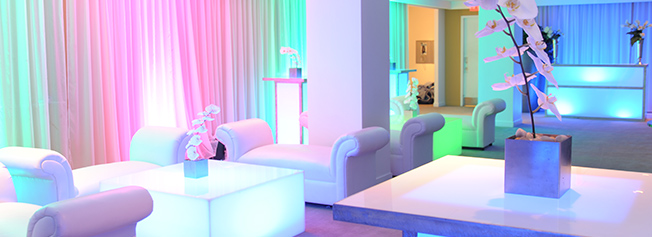 Focused lighting design services illuminate your event and promote your organization