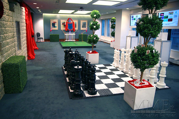 Corporate themed event life size chess pieces