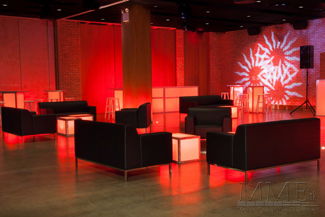 Black Modern Lounge design and furniture rentals for NYC events