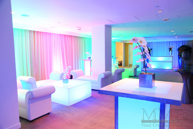 Lounge rental with ambient lighting design