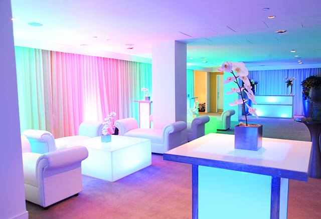 rainbow led multi color lighting white lounge decor private event