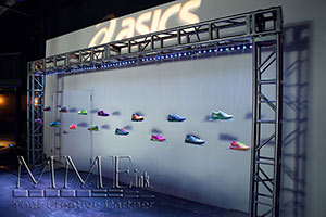 Asics sneakers on custom fabricated stage by MMEink
